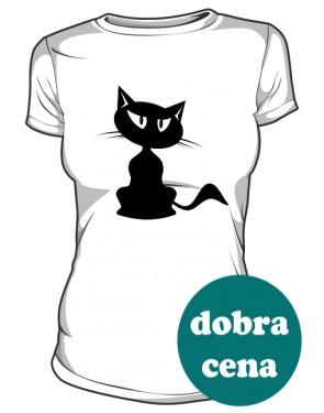 Czarny Kot koszulka damska