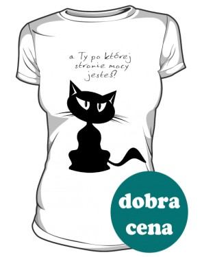 Czarny tajemniczy Kot koszulka damska
