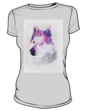 Husky zimowy wzór koszulka damska