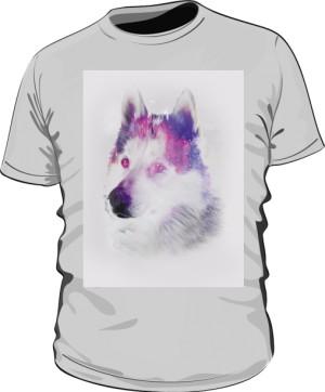 Husky zimowy wzór koszulka męska