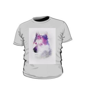 Husky zimowy wzór koszulka dziecko