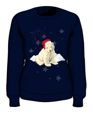 Mikołaj Miś Polarny snieg Bluza Damska