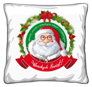 Mikołaj życzenia Poduszka Świąteczna