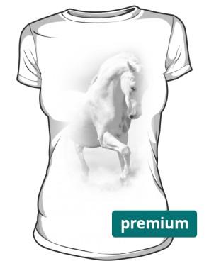 Biały Koń Koszulka Damska Premium