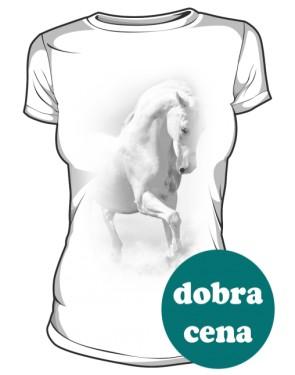 Biały Koń Koszulka Damska