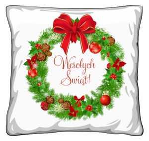 Poduszka świąteczny wieniec