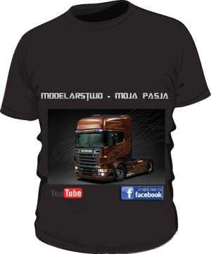 Czarna koszulka ze Scanią R730