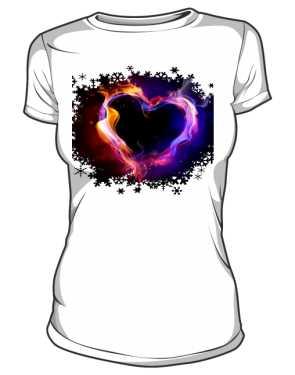 koszulka damska serce  plomien