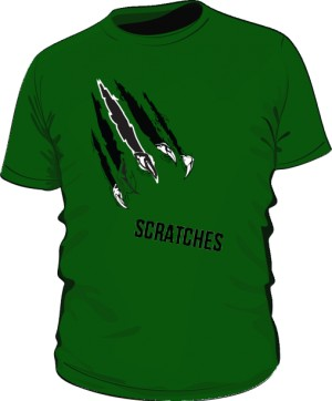 scratches green with text