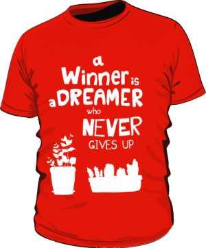 Winner dreamer koszulka premium czerwona