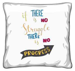 Struggle and progres poduszka biała