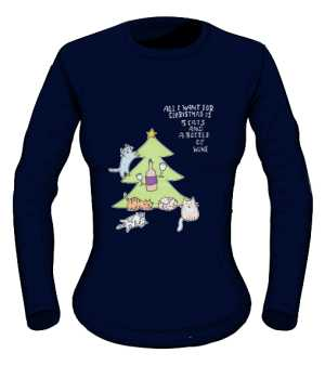 Cats and wine longsleeve granat eng