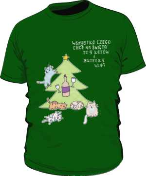 Cats and wine koszulka basic zielona