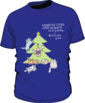 Cats and wine koszulka basic niebieska