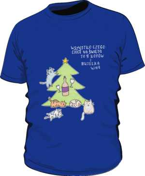 Cats and wine koszulka premium niebieska