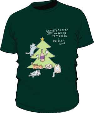 Cats and wine koszulka premium zielona