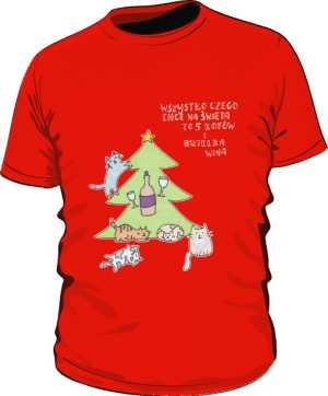 Cats and wine koszulka premium czerwona