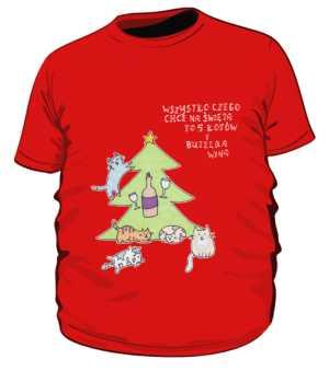 Cats and wine koszulka plus czerwona