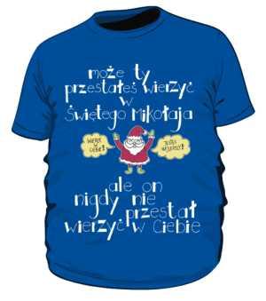 Santa believer koszulka plus niebieska