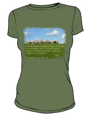 Koszulka damska khaki nadruk