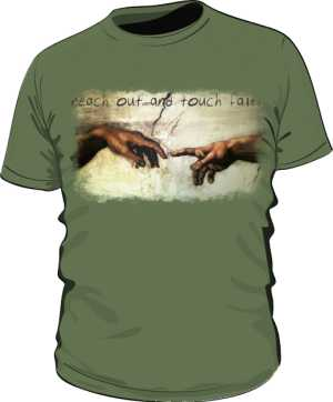 Koszulka męska khaki z nadrukiem