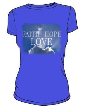 Koszulka damska niebieska z nadrukiem