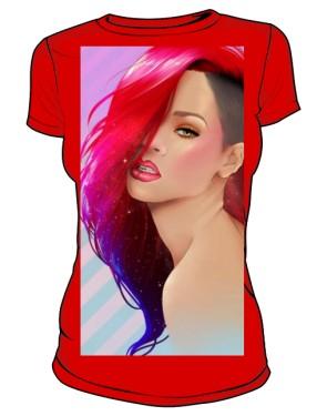 Rihanna T Shirt Damska Czerwona
