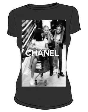 Rihanna Chanel T Shirt Czarna