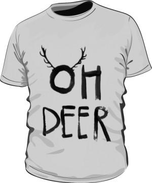 OH DEER T Shirt Szary Męski