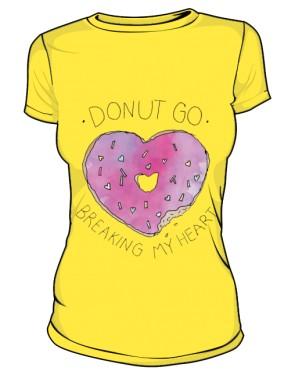 DONUT GO T Shirt Damski Zółty