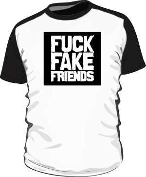 FUCK FAKE FRIENDS KOSZULKA BEJSBOLÓWKA