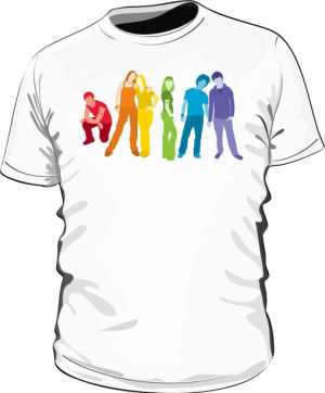Biała koszulka LGBT męska ludzie flaga