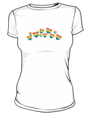 Biała koszulka LGBT damska serca flaga