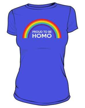 Niebieska koszulka LGBT damska flaga