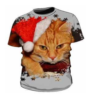 Męska koszulka GRUMPY SANTA CAT