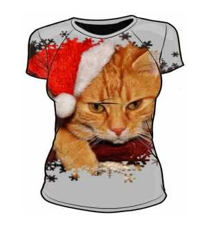 Damska koszulka GRUMPY SANTA CAT
