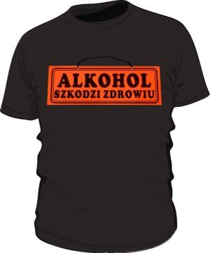 Czarna koszulka Alkohol szkodzi