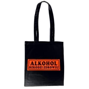 Czarna torba Alkohol szkodzi
