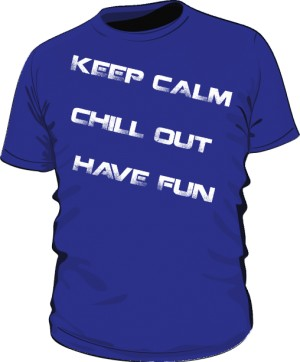 Keep calm blue text white