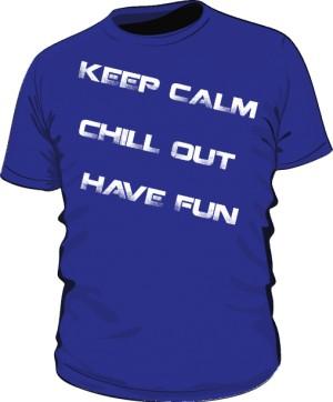 Keep calm blue text white