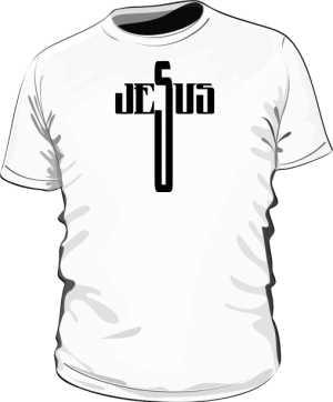 Bluzka z napisem JESUS biała męska
