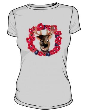 Jeleń Szary Kwiaty Tshirt