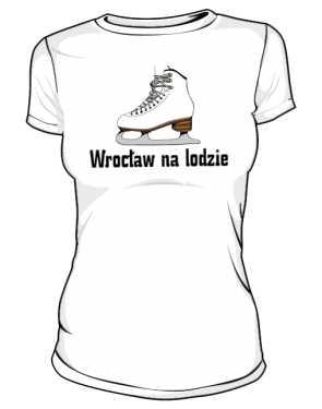 Wrocław na lodzie z napisem na plecach
