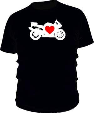 Koszulka slim motocykl serce