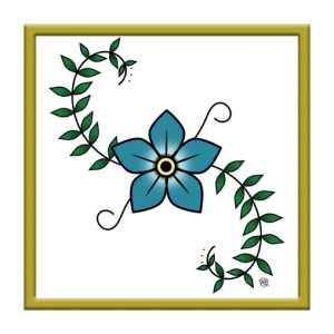 Naszywka z kwiatem oldschool kwadratowa