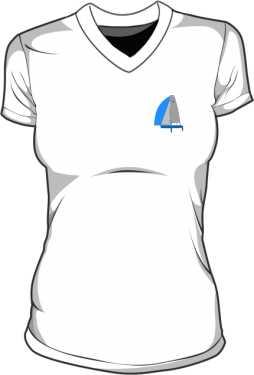 Koszulka V neck damska Rysunek Jachtu