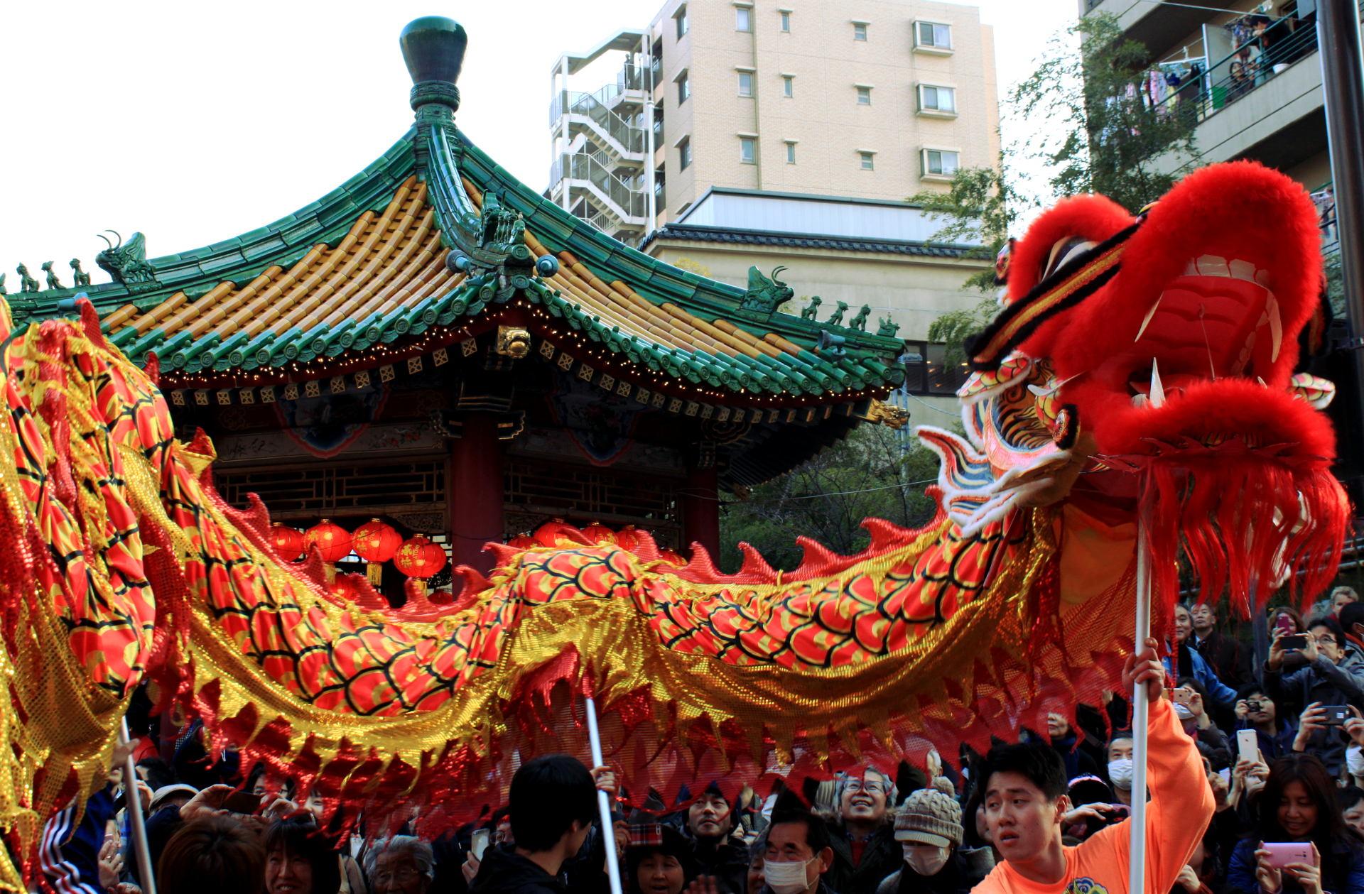 yokohama święto nowy rok parada smok chiński chinatown chinska dzielnica iglawpodrozy