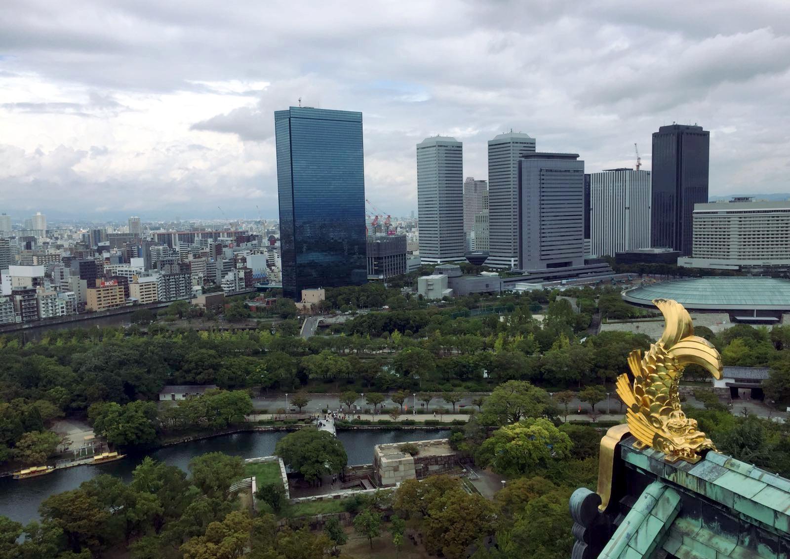 widokna Osake z zamku Osaka Japonia iglawpodrozy