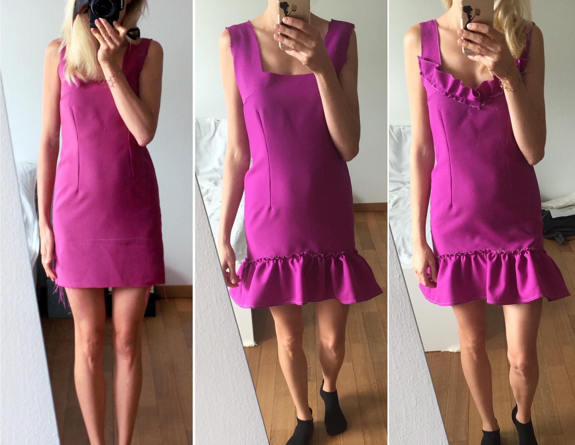 szycie sukienki z falbana iglawpodrozy