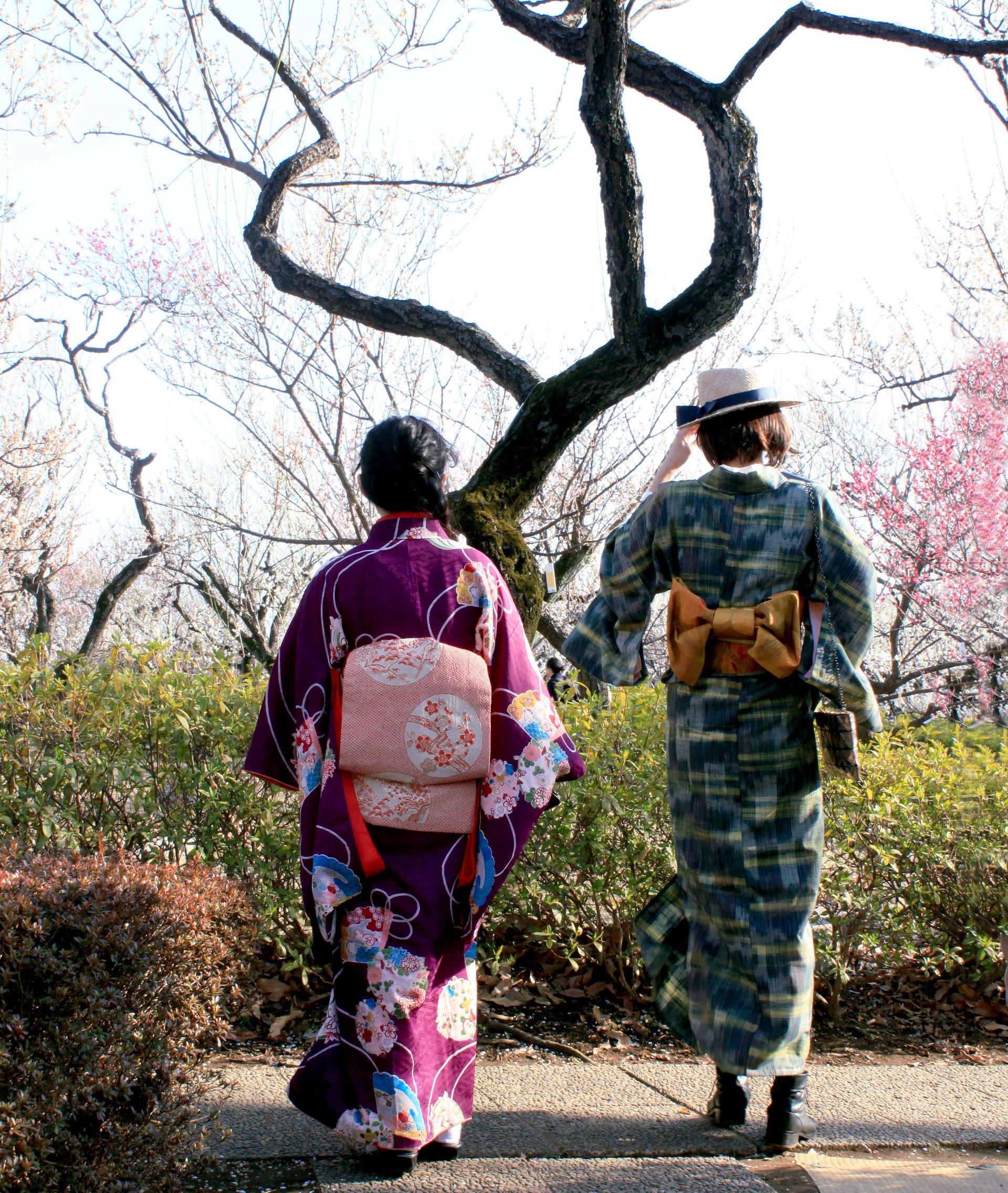 tokio japonia tokyo japan park kwitnacawisnia kwiaty plumblossom kwitnacasliwka kimono springinjapan wiosnawjaponii cherryblossom iglawpodrozy